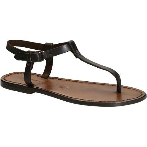 Gianluca - L'artigiano del cuoio sandali infradito fatti a mano in pelle colore testa di moro 532 d moro