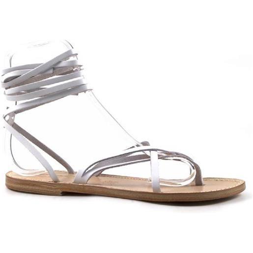 Gianluca - L'artigiano del cuoio sandali alla schiava fatti a mano in italia in pelle bianco 514 d bianco
