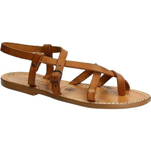 Gianluca - L'artigiano del cuoio sandali alla schiava fatti a mano in pelle color cuoio antico 530 d cuoio