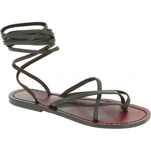 Gianluca - L'artigiano del cuoio sandali alla schiava in cuoio artigianali realizzati in italia in pelle testa di moro 514 d moro