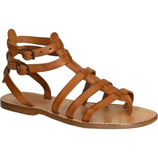 Gianluca - L'artigiano del cuoio sandali gladiatore in pelle colore cuoio antico fatti a mano in italia 506 d cuoio