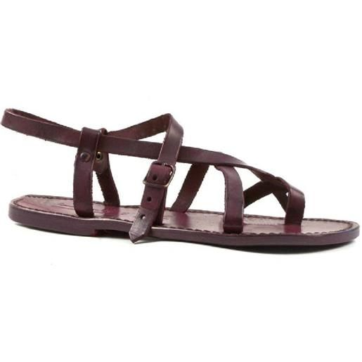 Gianluca - L'artigiano del cuoio sandali artigianali cuoio donna fatti in italia in pelle color prugna 530 d prugna