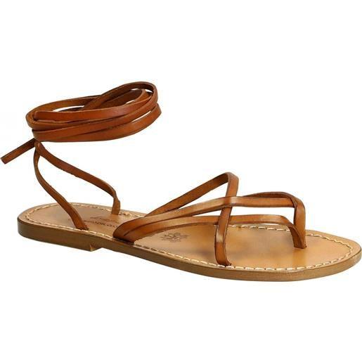 Gianluca - L'artigiano del cuoio sandali alla schiava donna artigianali in pelle color cuoio antico 514 d cuoio