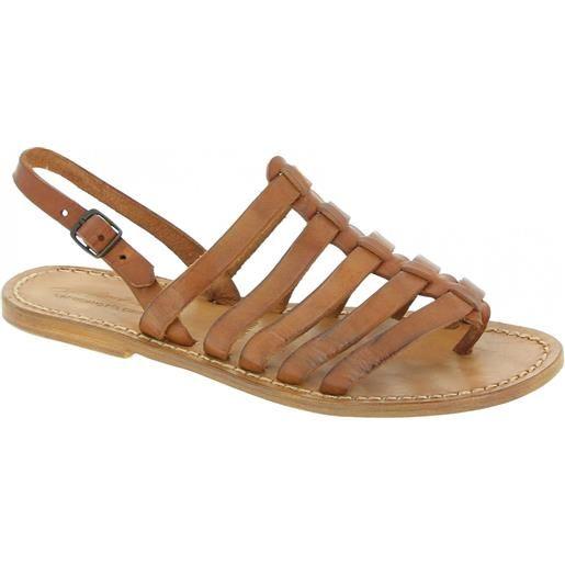 Gianluca - L'artigiano del cuoio sandali infradito alla schiava in pelle color cuoio 576 d cuoio