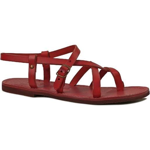 Gianluca - L'artigiano del cuoio sandali alla schiava bassi artigianali pelle rosso 530 d rosso