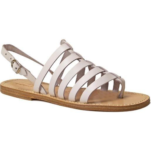Gianluca - L'artigiano del cuoio sandali bianchi infradito alla schiava artigianali in pelle 576 d bianco