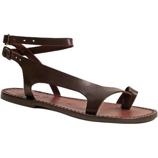 Gianluca - L'artigiano del cuoio sandali infradito artigianali da donna in pelle testa di moro 526 d moro