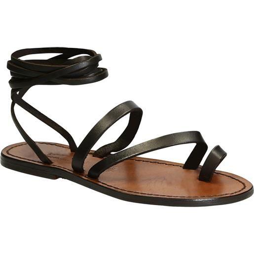 Gianluca - L'artigiano del cuoio sandali schiava bassi fatte a mano in pelle testa di moro 513 d moro