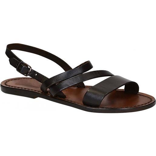 Gianluca - L'artigiano del cuoio sandali bassi in pelle testa di moro da donna artigianali 598 d moro