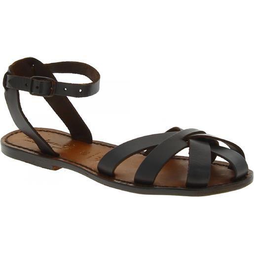 Gianluca - L'artigiano del cuoio sandali bassi fatti a mano in italia in pelle color testa di moro 503 d moro