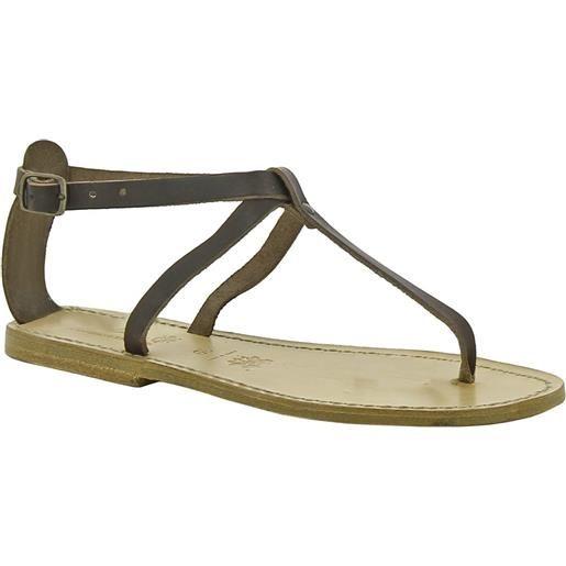 Gianluca - L'artigiano del cuoio sandali infradito in pelle marrone scuro artigianali da donna 582 d moro
