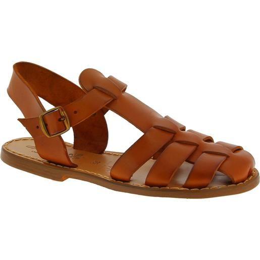 Gianluca - L'artigiano del cuoio sandali bassi in pelle color cuoio fatti a mano in italia 501 d cuoio