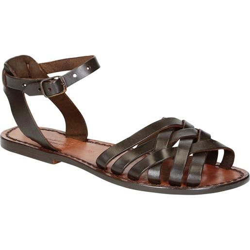 Gianluca - L'artigiano del cuoio sandali artigianali donna in pelle color testa di moro 595 d moro