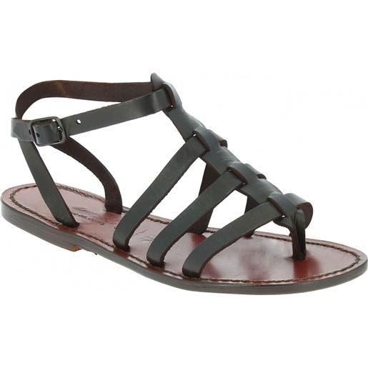 Gianluca - L'artigiano del cuoio sandali gladiatore donna in pelle marrone fatti a mano in italia 505 d moro
