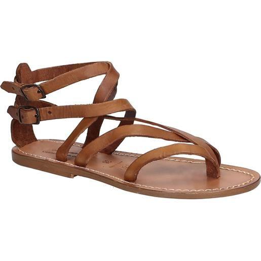 Gianluca - L'artigiano del cuoio sandali alla schiava artigianali in pelle color cuoio 574 d cuoio