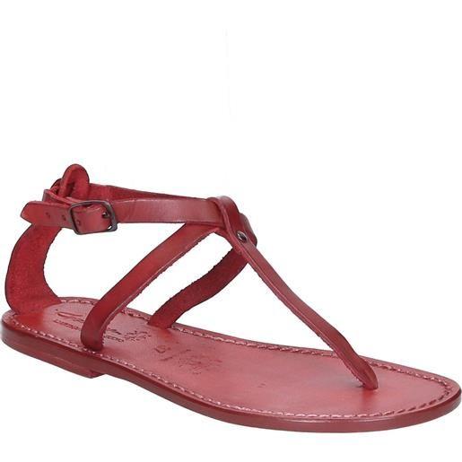 Gianluca - L'artigiano del cuoio sandali infradito donna fatti a mano in pelle rosso 582 d rosso