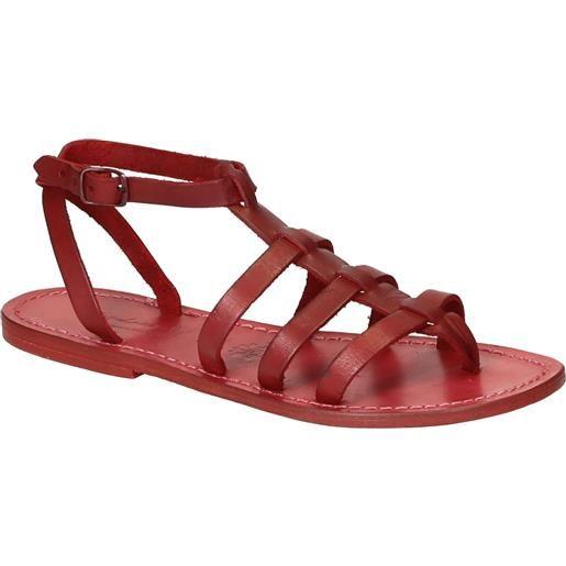 Gianluca - L'artigiano del cuoio sandali gladiatore donna in pelle rosso fatti a mano in italia 505 d rosso