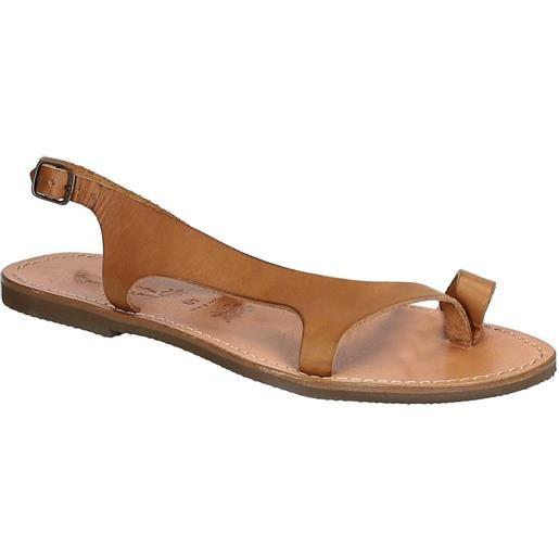 Gianluca - L'artigiano del cuoio sandali infradito artigianali da donna in pelle color cuoio 526 d cuoio