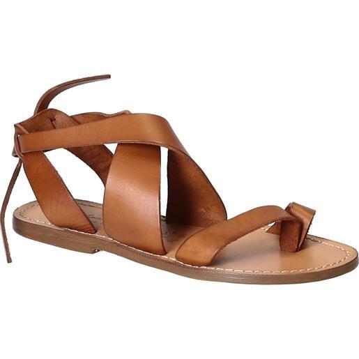 Gianluca - L'artigiano del cuoio sandali donna fatti a mano in pelle colore cuoio 571 d cuoio