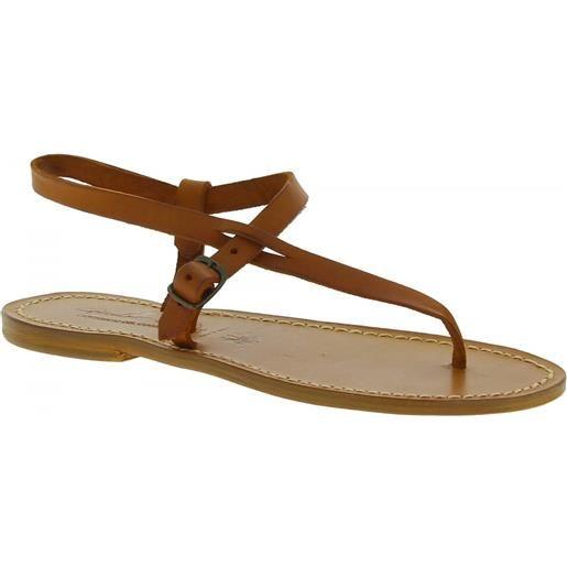 Gianluca - L'artigiano del cuoio sandali infradito artigianali da donna in pelle color cuoio 592 d cuoio
