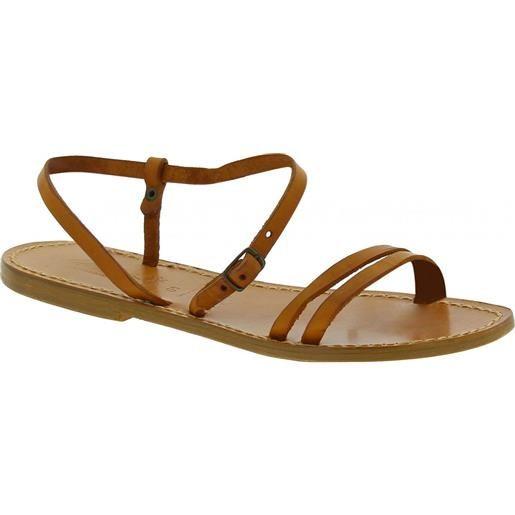 Gianluca - L'artigiano del cuoio sandali schiava bassi da donna color cuoio 591 d cuoio