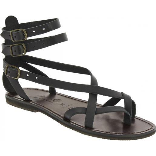 Gianluca - L'artigiano del cuoio sandali gladiatore fatti a mano in pelle colore nero 564 d nero