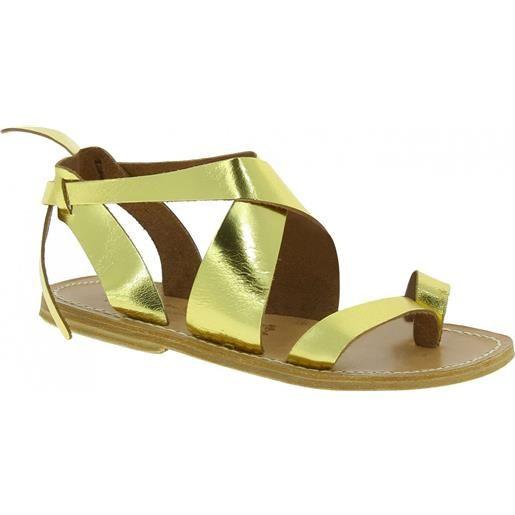 Gianluca - L'artigiano del cuoio sandali donna fatti a mano in pelle laminata colore oro 571 d lam-oro