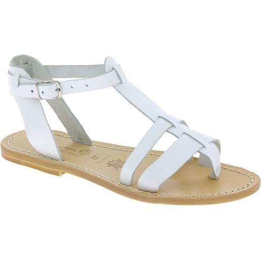 Gianluca - L'artigiano del cuoio sandali gladiatore da donna in pelle bianca con suola naturale 572 d bianco