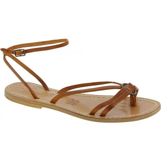 Gianluca - L'artigiano del cuoio sandali infradito in pelle color cuoio da donna fatti a mano 535 d cuoio
