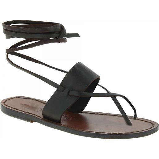 Gianluca - L'artigiano del cuoio sandali alla schiava fatti a mano in pelle testa di moro 524 d moro