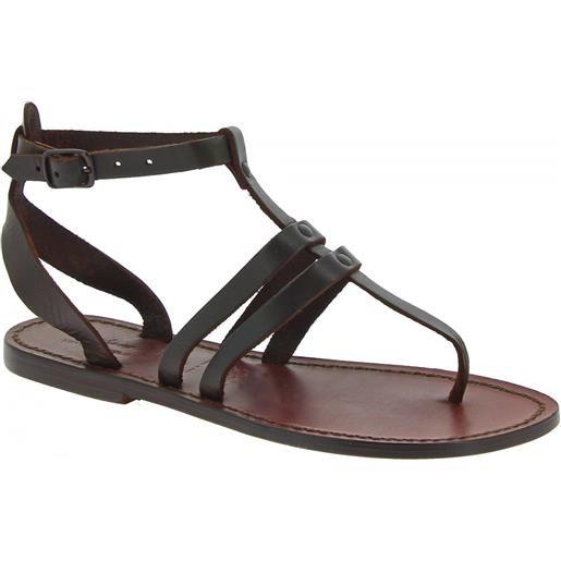 Gianluca - L'artigiano del cuoio sandali infradito donna in pelle colore testa di moro 577 d moro