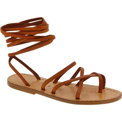 Gianluca - L'artigiano del cuoio sandali alla schiava in pelle color cuoio fatti a mano in italia 510 d cuoio