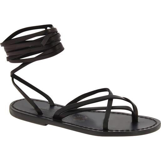 Gianluca - L'artigiano del cuoio sandali alla schiava in pelle nero artigianali realizzati in italia 514 d nero