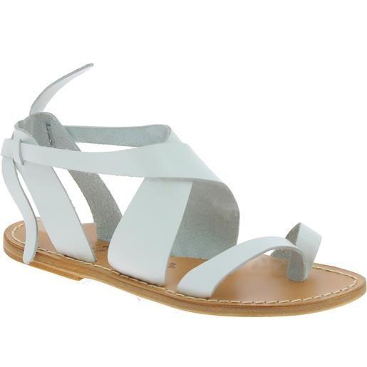 Gianluca - L'artigiano del cuoio sandali donna fatti a mano in pelle colore bianco 571 d bianco