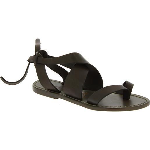 Gianluca - L'artigiano del cuoio sandali donna in pelle color fango fatti a mano in italia 571 d fango