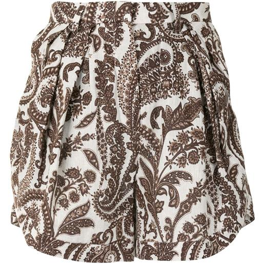 Rosie Assoulin shorts con stampa paisley - marrone