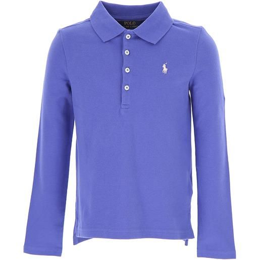Ralph Lauren polo bambina in outlet, blue melange, cotone, 2021, 2y 5y