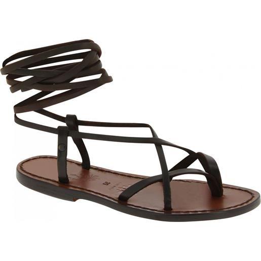 Gianluca - L'artigiano del cuoio sandali infradito alla schiava artigianali in pelle marrone scuro 517 d moro