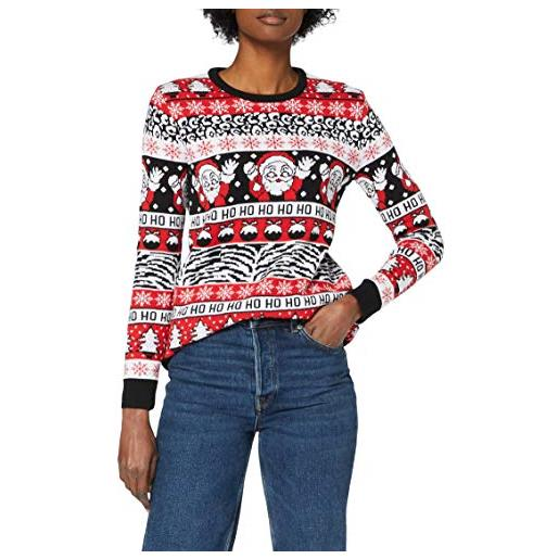 British Christmas Jumpers comic wave womens eco christmas jumper pullover, rosso, xs donna