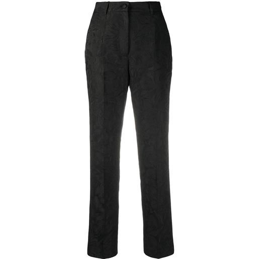 Dolce & Gabbana pantaloni dritti a fiori - nero