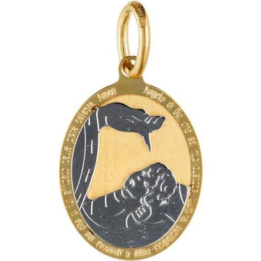 Medaglia ciondolo da battesimo oro giallo e bianco gl100025