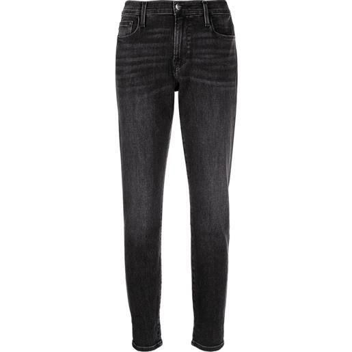 FRAME jeans a vita media crop - nero