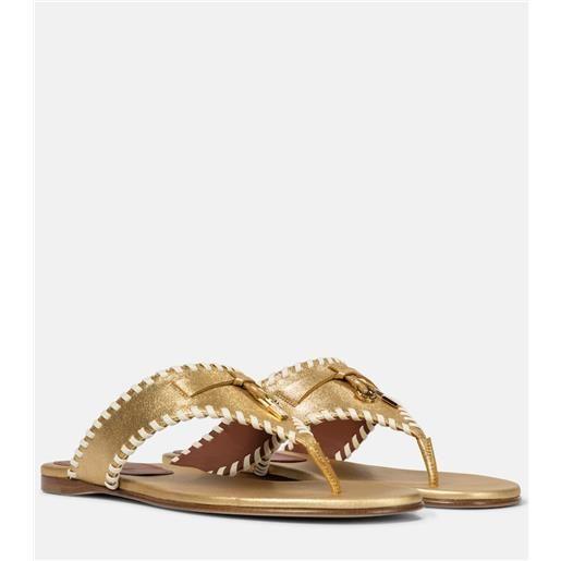 Loro Piana sandali jovis in pelle metallizzata