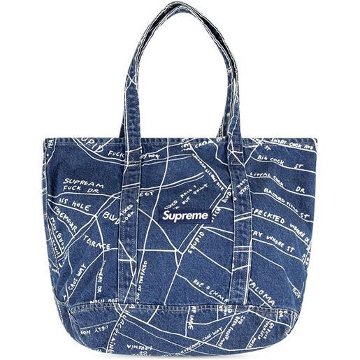 Supreme borsa tote gonz map - blu