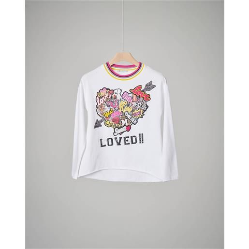 Elsy t-shirt bianca cuore patch 36-38