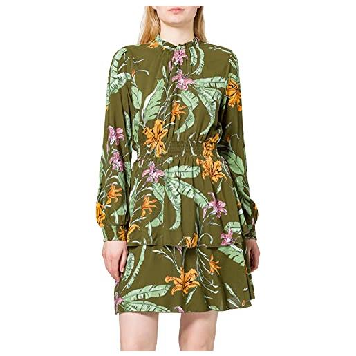Only onlpalm life l/s layered dress wvn vestito, winter moss/aop: wild flowers, m donna