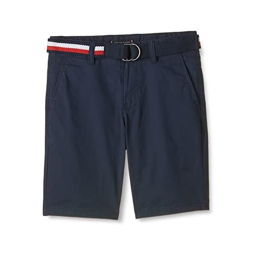 Tommy Hilfiger essential belted chino shorts pantaloncini, twilight navy, 92 cm bambino