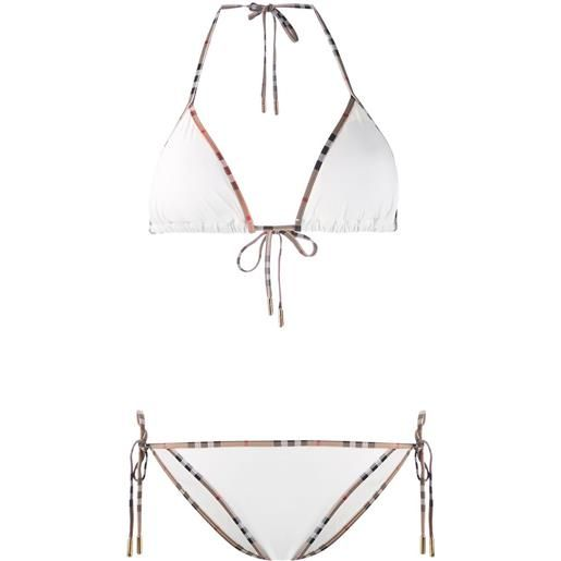 Burberry bikini con bordo vintage check - white