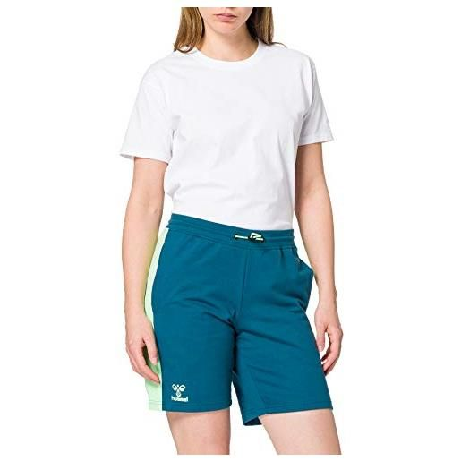 hummel 211006 pantaloncini, blu corallo/verde cenere, xs donna