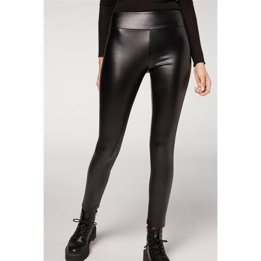 Calzedonia leggings effetto pelle termici nero